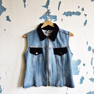 Vintage Planet-X 80's Denim Velvet Zip Front Vest